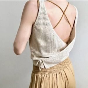 Anthropologie Moon & Madison Tan Wrap Sweater Tank
